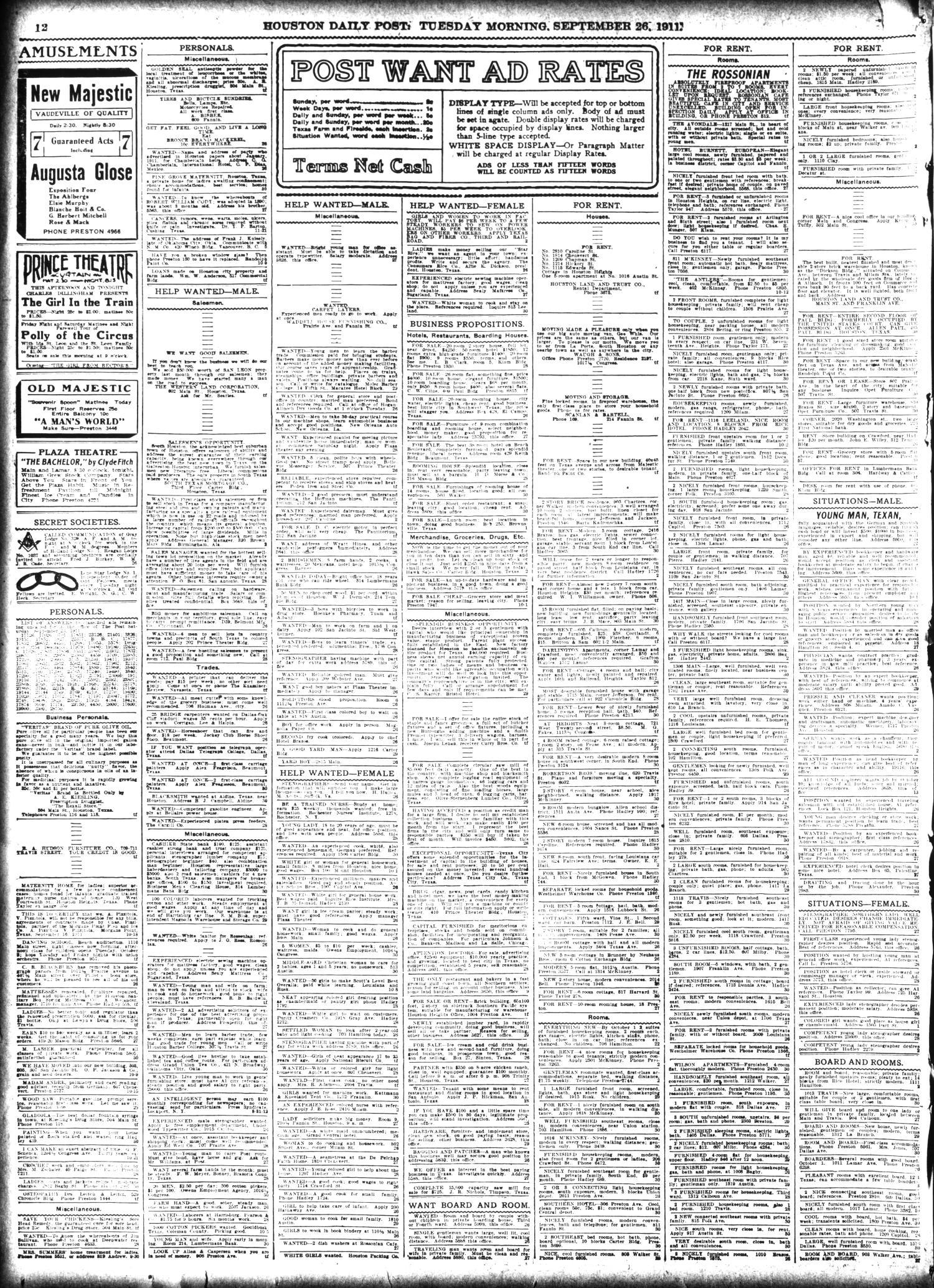 The Houston Post  (Houston, Tex ), Vol  27, Ed  1 Tuesday