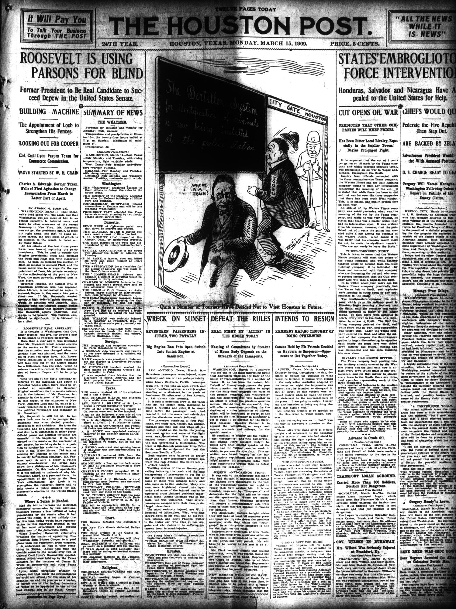 The Houston Post. (Houston, Tex.), Vol. 24, Ed. 1 Monday, March 15, 1909                                                                                                      [Sequence #]: 1 of 12