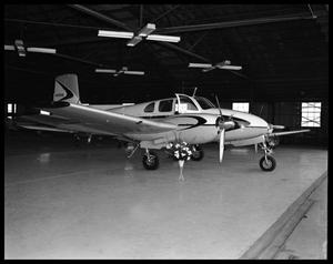 Primary view of object titled '[Turboprop Airplane in a Hanger]'.