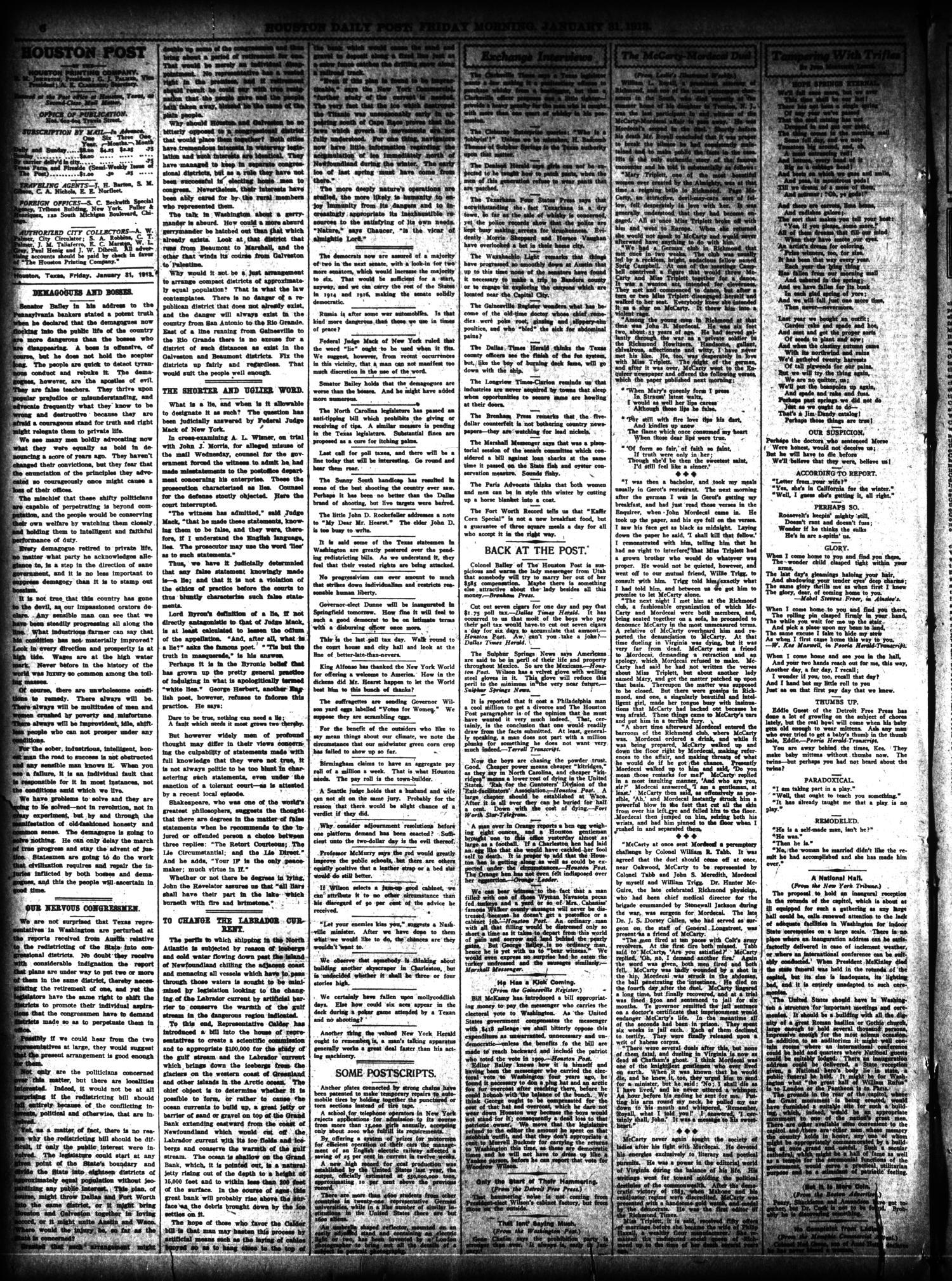 The Houston Post  (Houston, Tex ), Vol  27, Ed  1 Friday, January 31