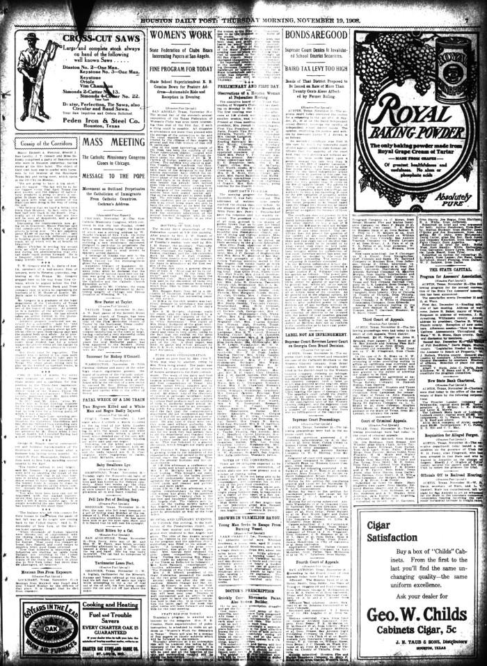 The Houston Post  (Houston, Tex ), Vol  24, Ed  1 Thursday, November