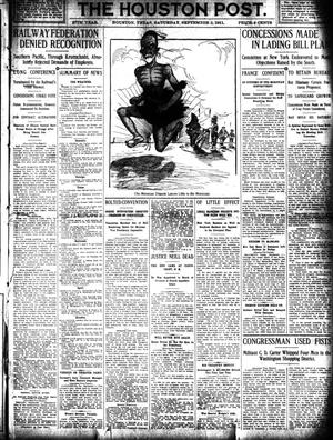 Primary view of object titled 'The Houston Post. (Houston, Tex.), Vol. 27, Ed. 1 Saturday, September 2, 1911'.
