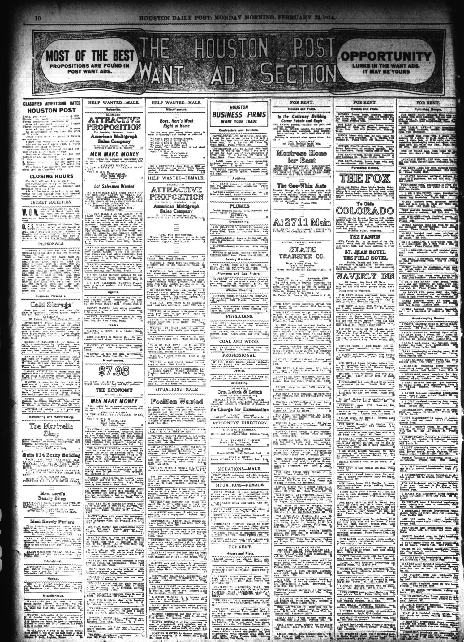 The Houston Post Houston Tex Vol 28 Ed 1 Monday February