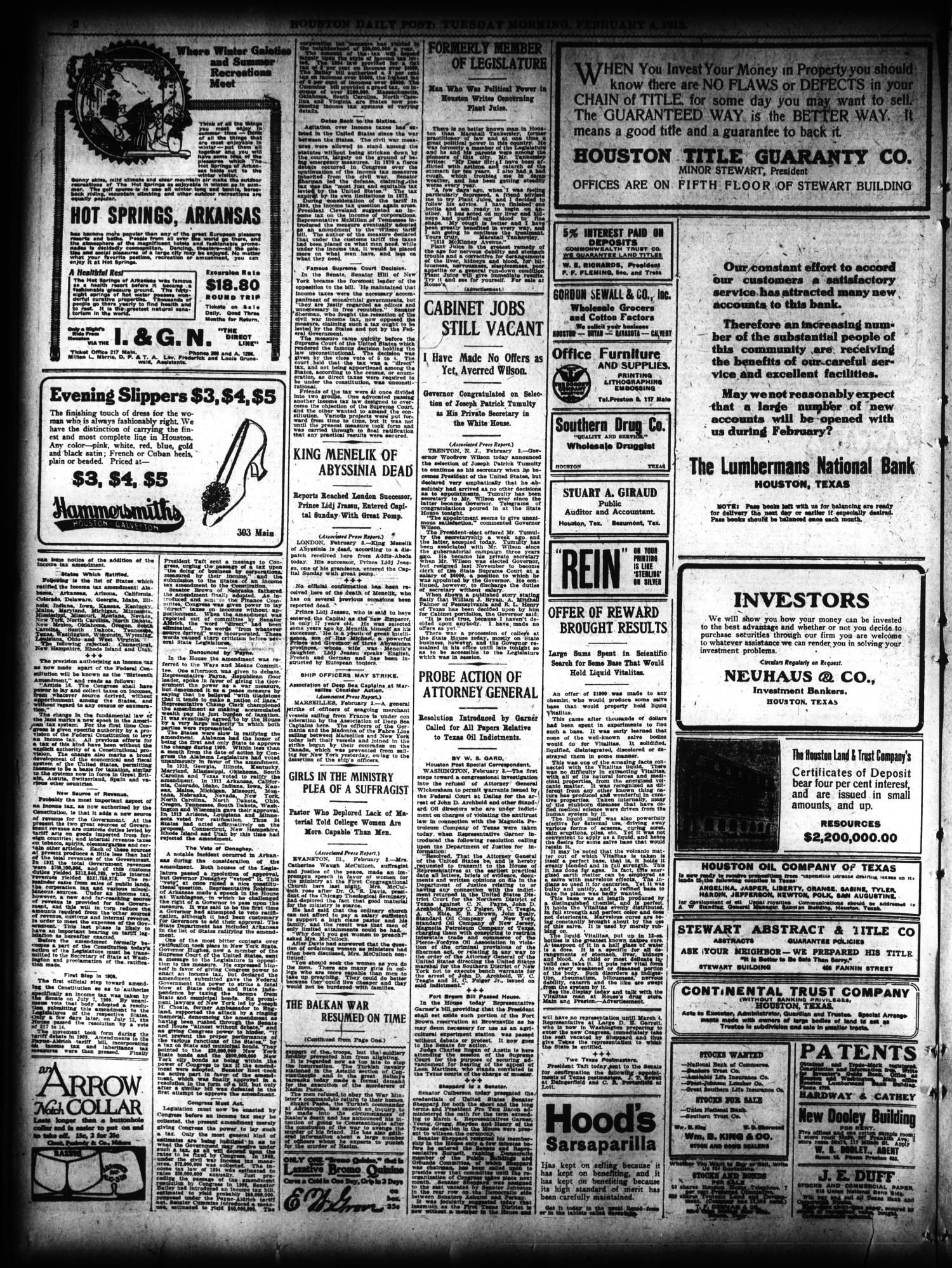 The Houston Post. (Houston, Tex.), Vol. 27, Ed. 1 Tuesday, February 4, 1913                                                                                                      [Sequence #]: 2 of 18
