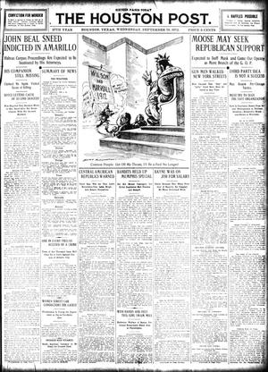 Primary view of object titled 'The Houston Post. (Houston, Tex.), Vol. 27, Ed. 1 Wednesday, September 18, 1912'.
