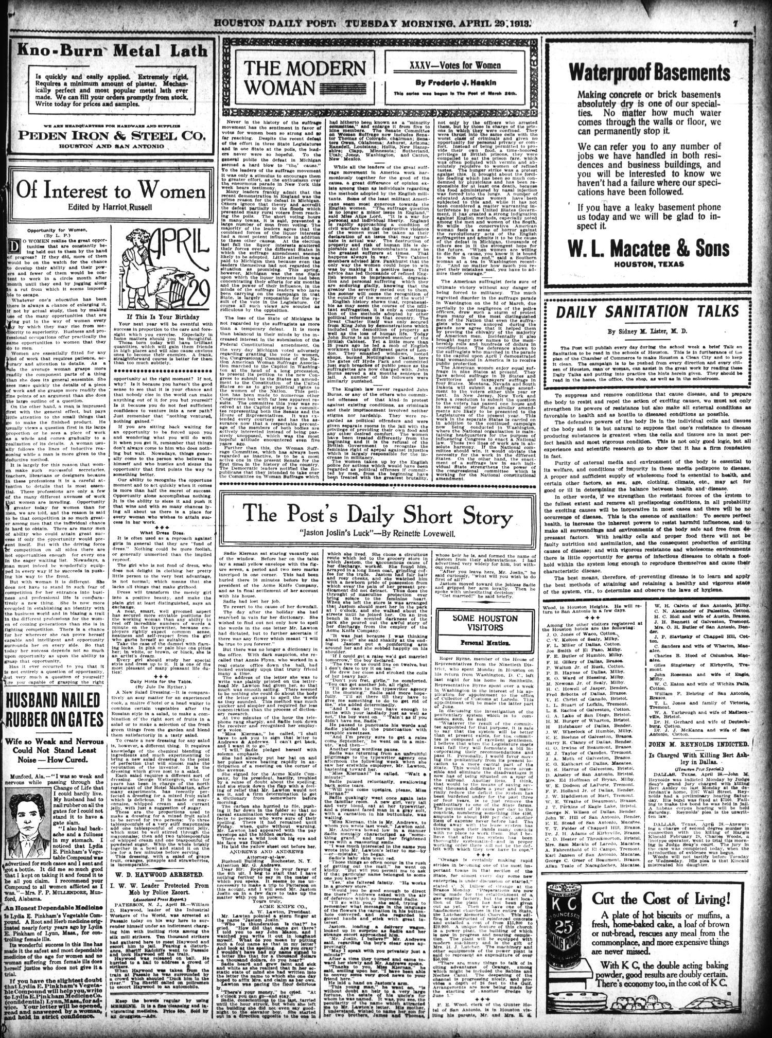 The Houston Post. (Houston, Tex.), Vol. 28, Ed. 1 Tuesday, April 29, 1913 -  Page 7 of 26 - The Portal to Texas History