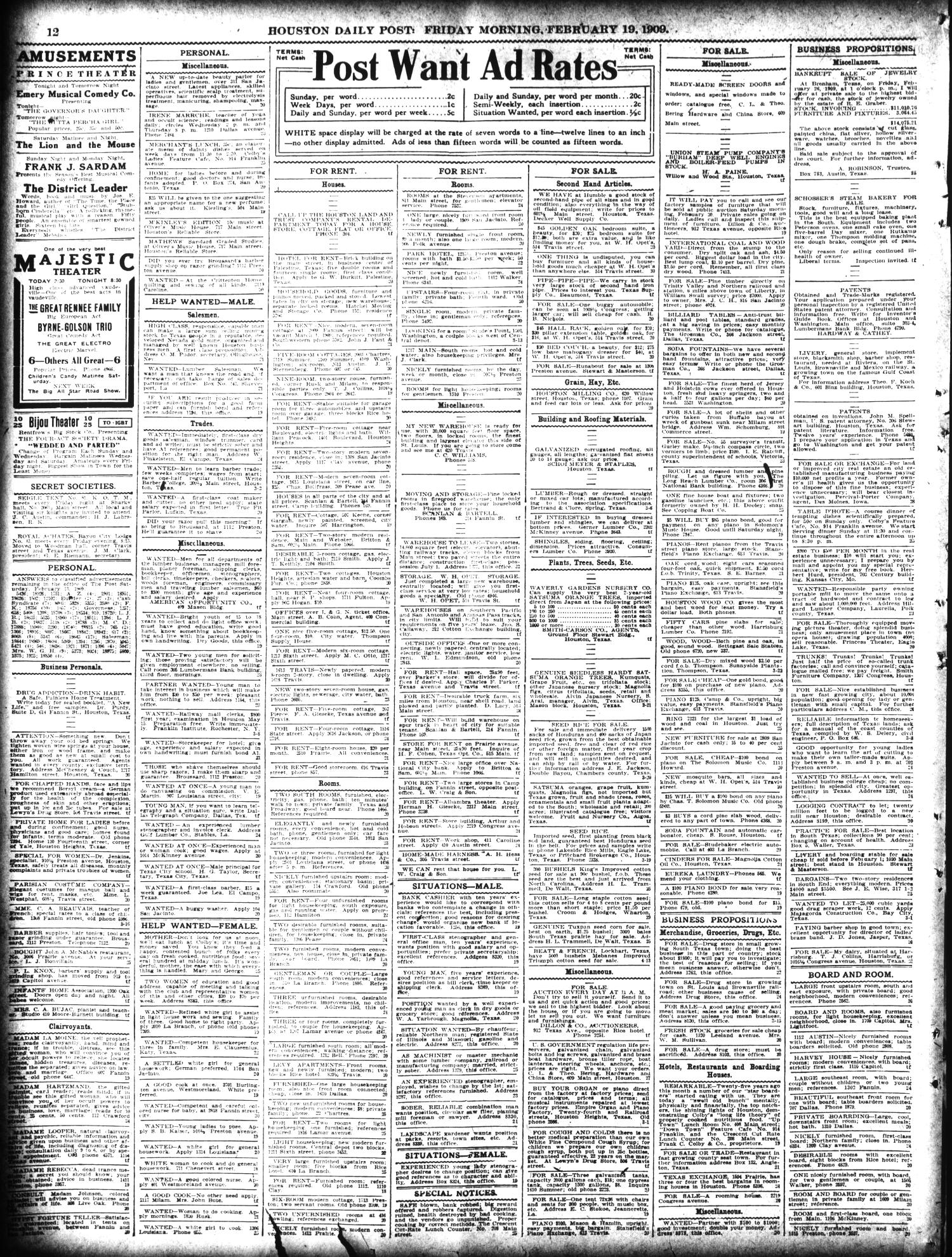 The Houston Post. (Houston, Tex.), Vol. 24, Ed. 1 Friday, February 19, 1909                                                                                                      [Sequence #]: 12 of 14