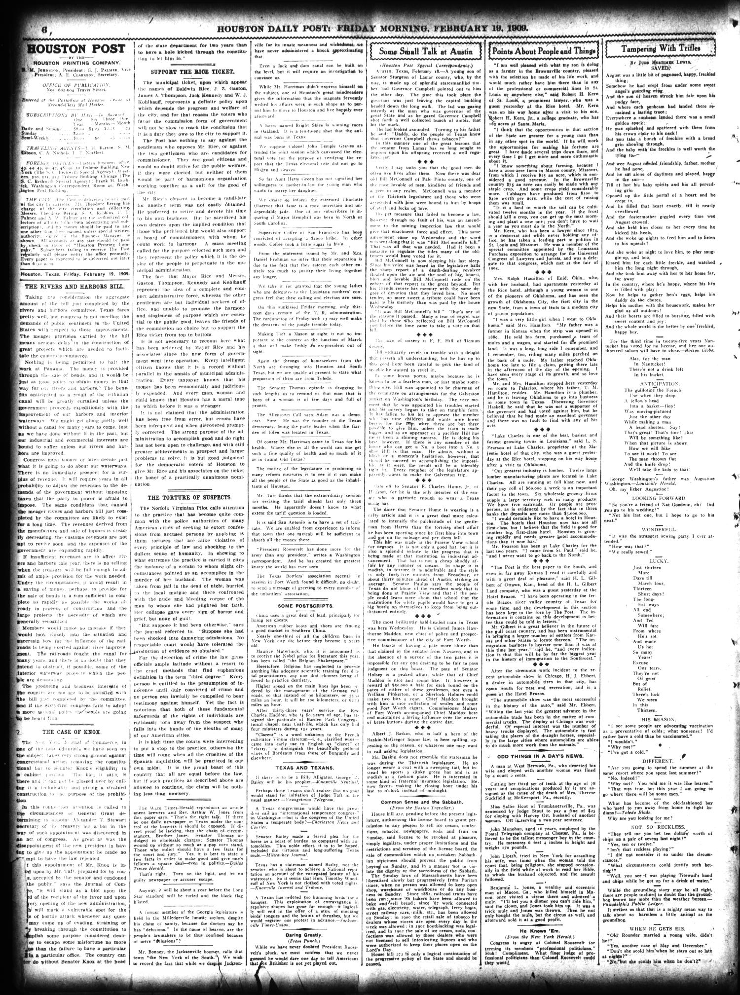 The Houston Post. (Houston, Tex.), Vol. 24, Ed. 1 Friday, February 19, 1909                                                                                                      [Sequence #]: 6 of 14