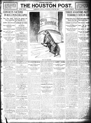 Primary view of object titled 'The Houston Post. (Houston, Tex.), Vol. 27, Ed. 1 Monday, June 19, 1911'.