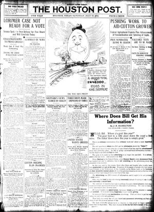 Primary view of object titled 'The Houston Post. (Houston, Tex.), Vol. 27, Ed. 1 Saturday, July 13, 1912'.