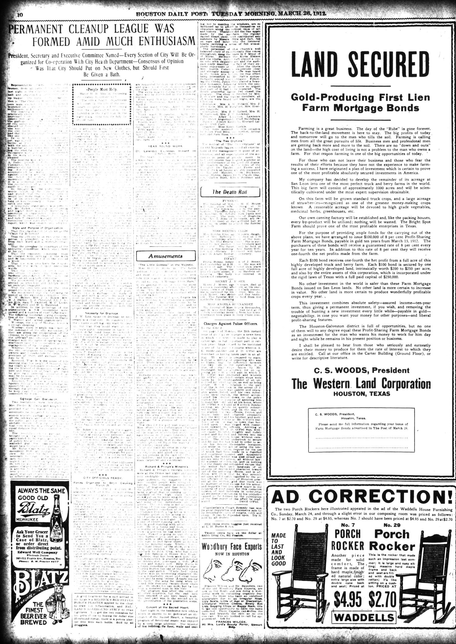 The Houston Post. (Houston, Tex.), Vol. 27, Ed. 1 Tuesday, March 26, 1912                                                                                                      [Sequence #]: 10 of 16