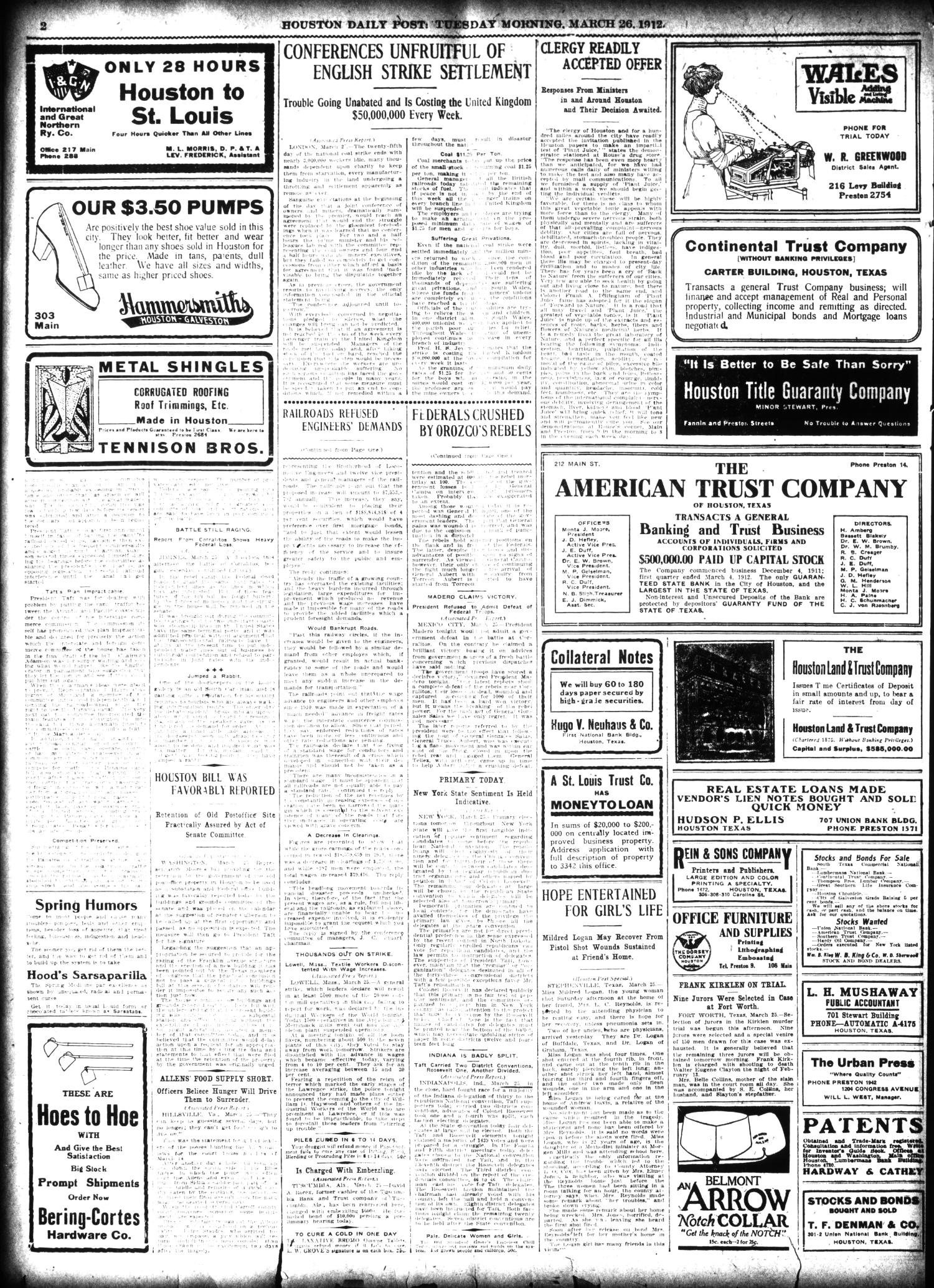 The Houston Post. (Houston, Tex.), Vol. 27, Ed. 1 Tuesday, March 26, 1912                                                                                                      [Sequence #]: 2 of 16