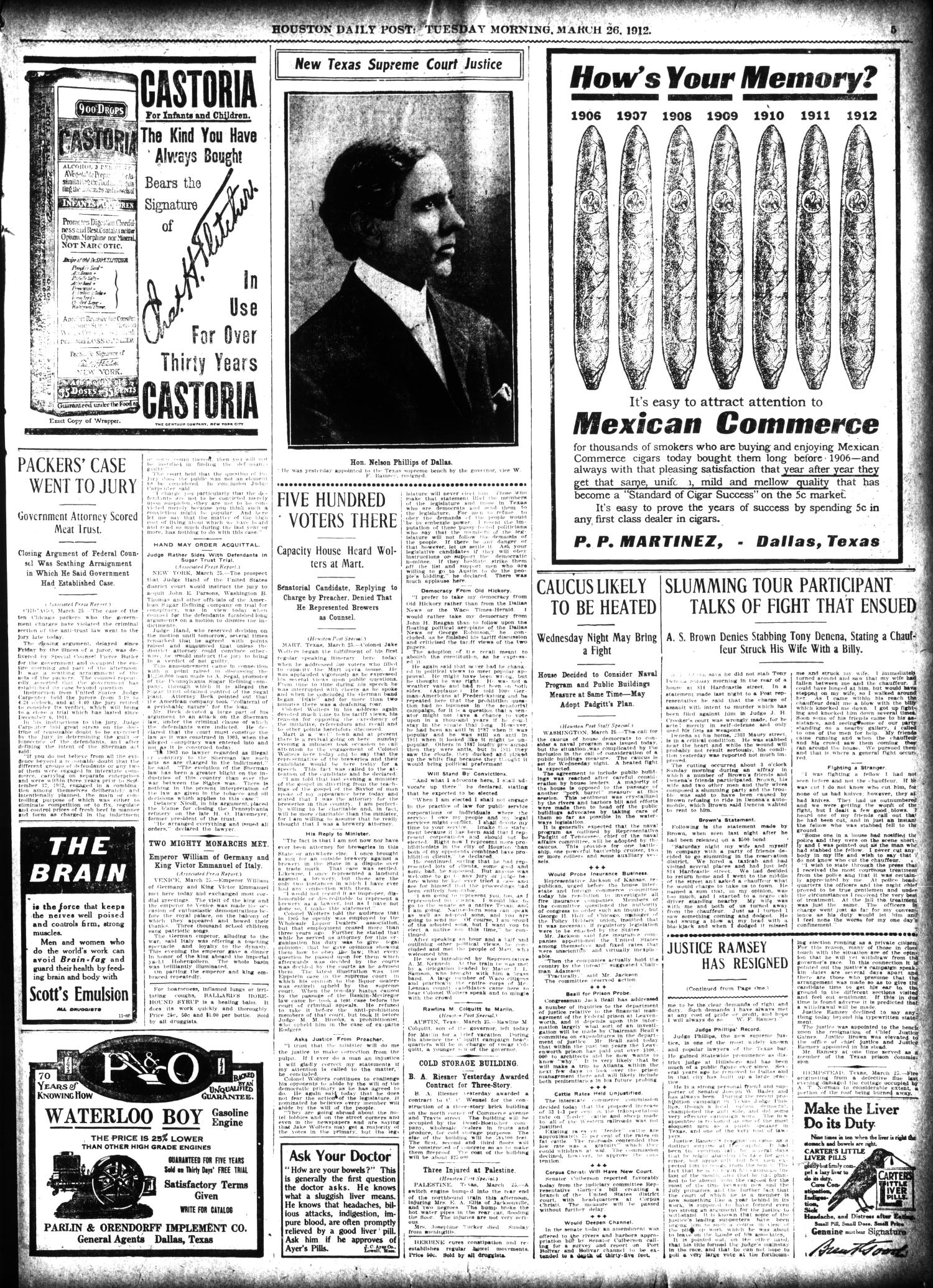 The Houston Post. (Houston, Tex.), Vol. 27, Ed. 1 Tuesday, March 26, 1912                                                                                                      [Sequence #]: 5 of 16