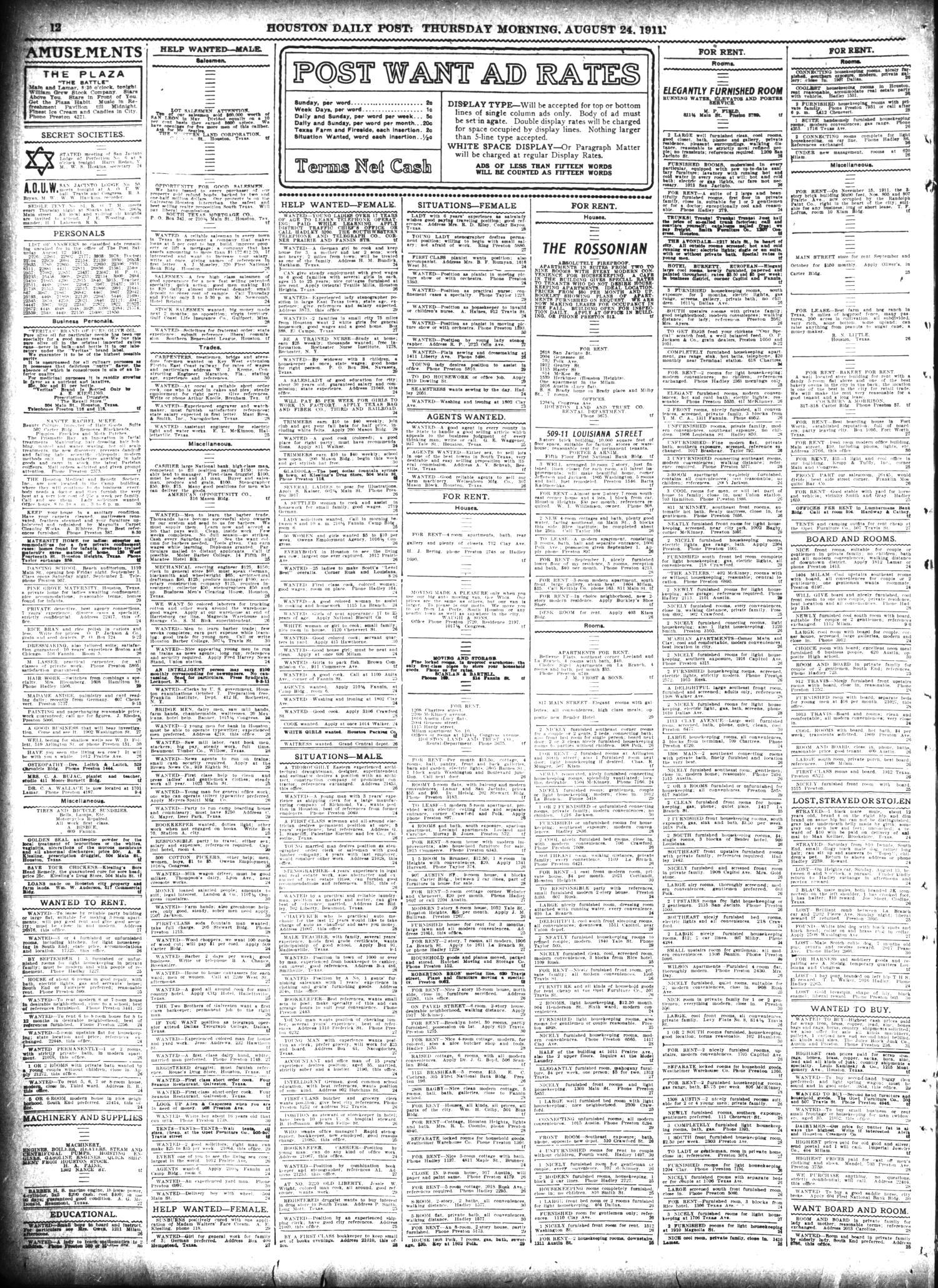 The Houston Post  (Houston, Tex ), Vol  27, Ed  1 Thursday, August