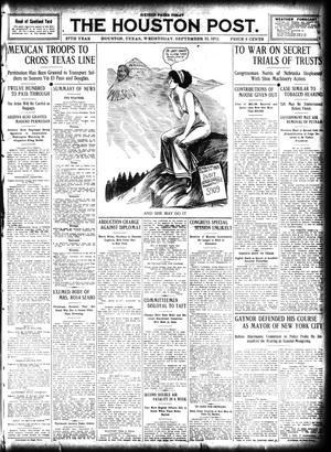 Primary view of object titled 'The Houston Post. (Houston, Tex.), Vol. 27, Ed. 1 Wednesday, September 11, 1912'.