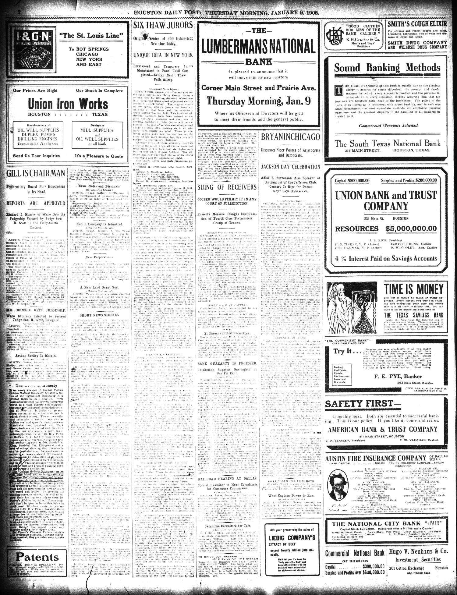 The Houston Post. (Houston, Tex.), Vol. 23, Ed. 1 Thursday, January 9, 1908                                                                                                      [Sequence #]: 2 of 16