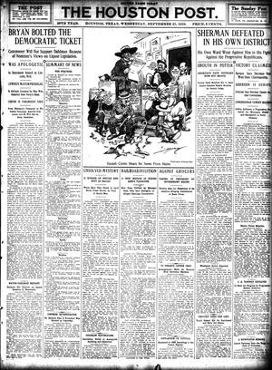 Primary view of object titled 'The Houston Post. (Houston, Tex.), Vol. 26, Ed. 1 Wednesday, September 21, 1910'.