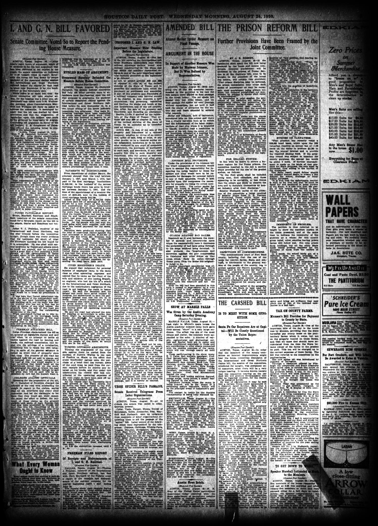 The Houston Post. (Houston, Tex.), Vol. 26, Ed. 1 Wednesday, August 24, 1910                                                                                                      [Sequence #]: 3 of 16