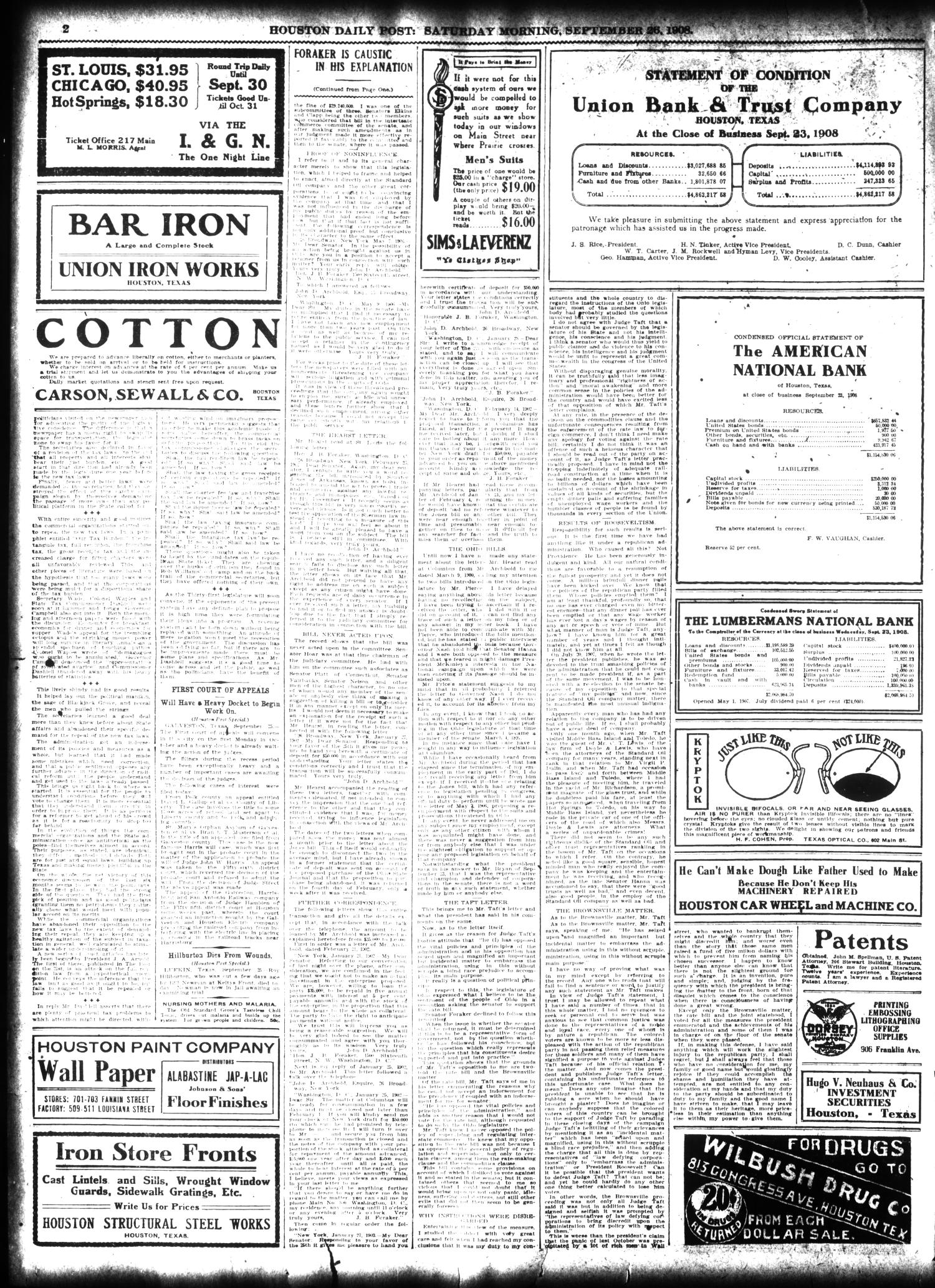 The Houston Post. (Houston, Tex.), Vol. 24, Ed. 1 Saturday, September 26, 1908                                                                                                      [Sequence #]: 2 of 14