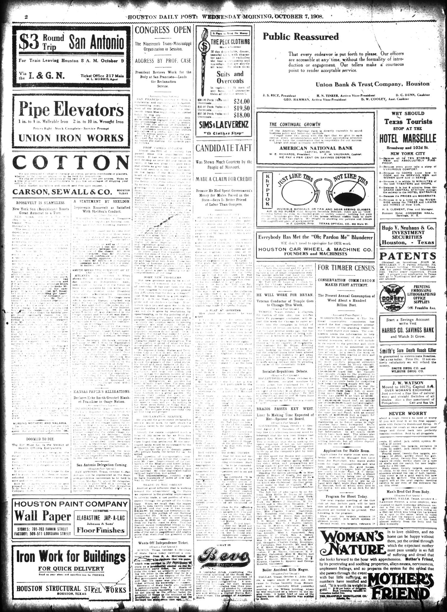 The Houston Post. (Houston, Tex.), Vol. 24, Ed. 1 Wednesday, October 7, 1908                                                                                                      [Sequence #]: 2 of 14
