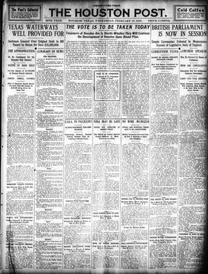Primary view of object titled 'The Houston Post. (Houston, Tex.), Vol. 25, Ed. 1 Wednesday, February 16, 1910'.