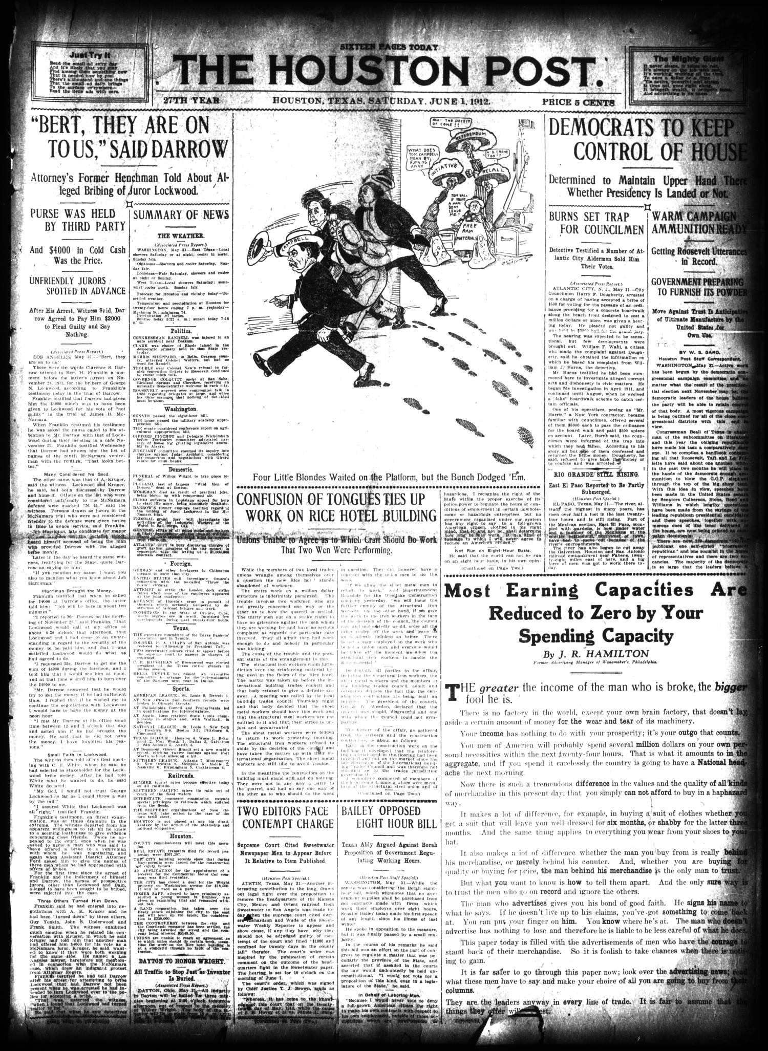 The Houston Post. (Houston, Tex.), Vol. 27, Ed. 1 Saturday, June 1, 1912                                                                                                      [Sequence #]: 1 of 16