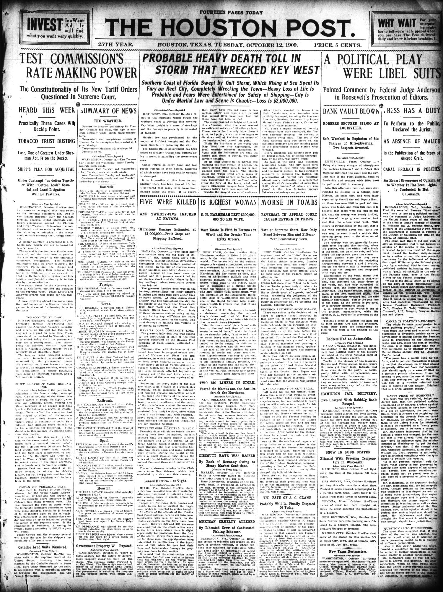 The Houston Post. (Houston, Tex.), Vol. 25, Ed. 1 Tuesday, October 12, 1909                                                                                                      [Sequence #]: 1 of 14