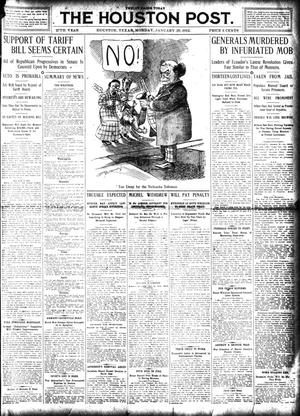 Primary view of object titled 'The Houston Post. (Houston, Tex.), Vol. 27, Ed. 1 Monday, January 29, 1912'.