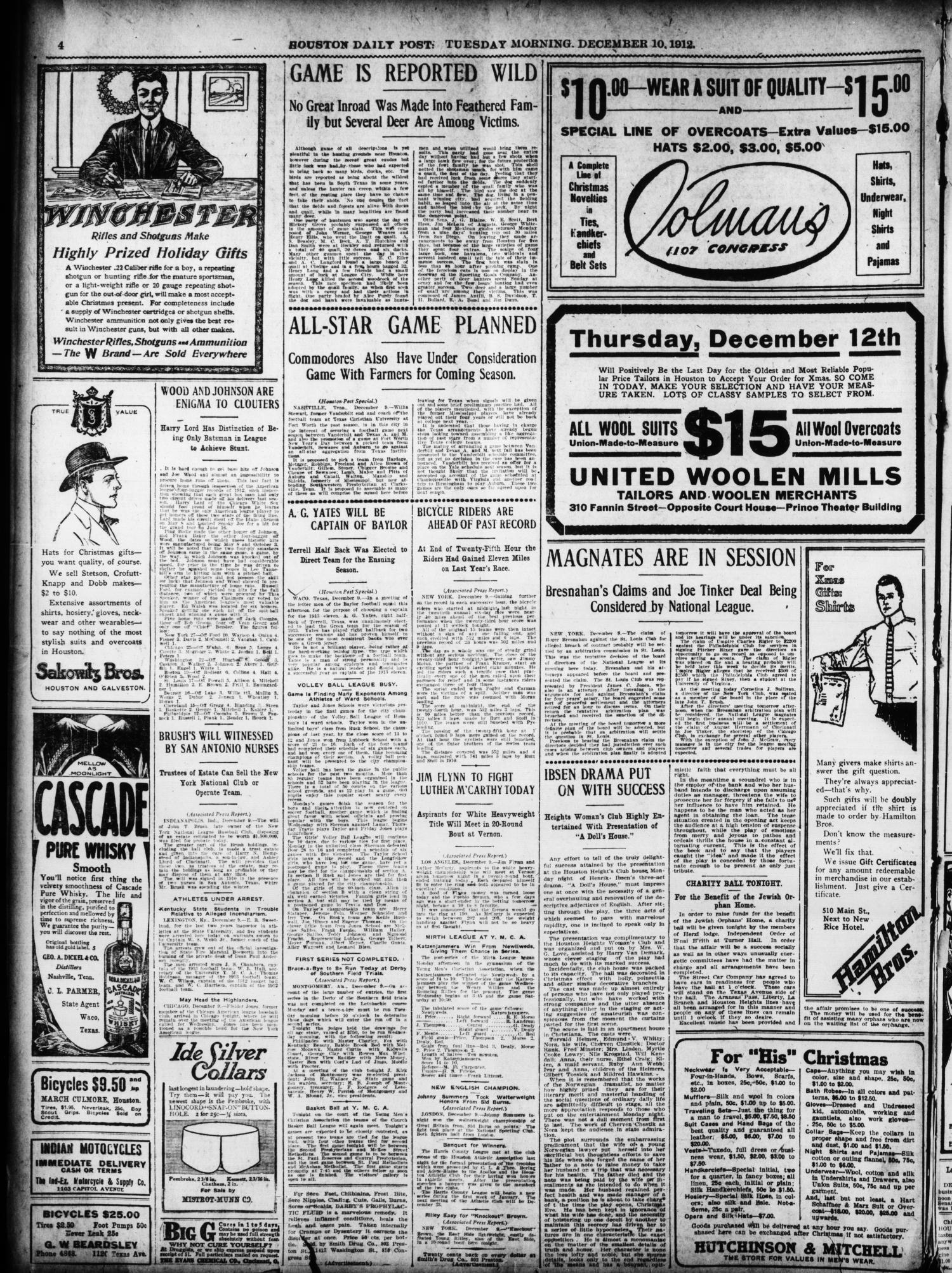 The Houston Post. (Houston, Tex.), Vol. 27, Ed. 1 Tuesday, December 10,  1912 - Page 4 of 18 - The Portal to Texas History
