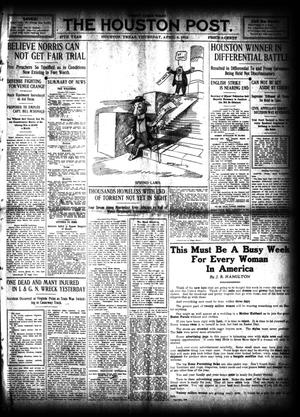 Primary view of object titled 'The Houston Post. (Houston, Tex.), Vol. 27, Ed. 1 Thursday, April 4, 1912'.