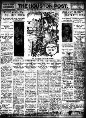 Primary view of object titled 'The Houston Post. (Houston, Tex.), Vol. 26, Ed. 1 Sunday, November 13, 1910'.