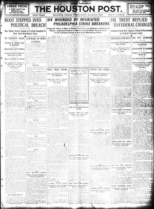 Primary view of object titled 'The Houston Post. (Houston, Tex.), Vol. 25, Ed. 1 Wednesday, March 9, 1910'.