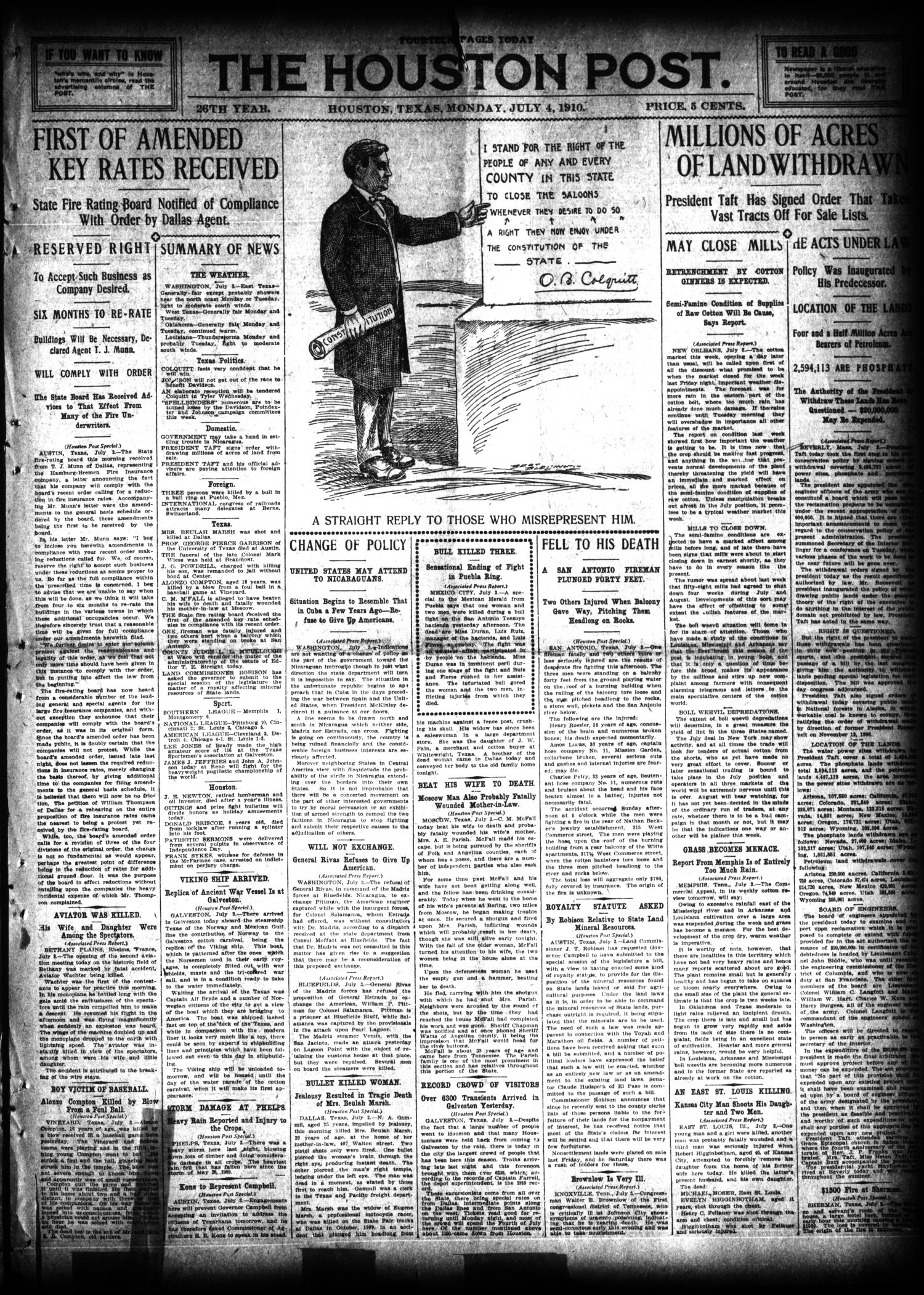 The Houston Post. (Houston, Tex.), Vol. 26, Ed. 1 Monday, July 4, 1910                                                                                                      [Sequence #]: 1 of 14