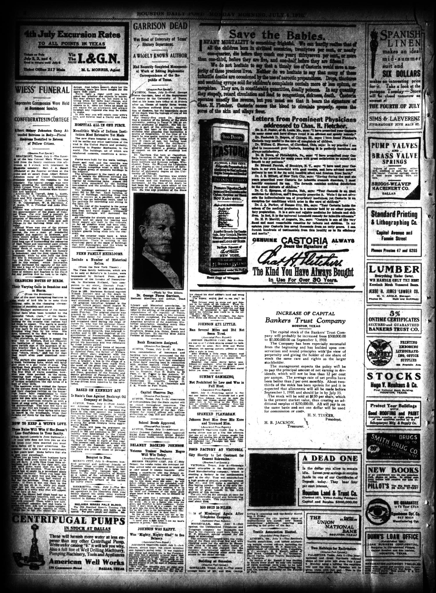 The Houston Post. (Houston, Tex.), Vol. 26, Ed. 1 Monday, July 4, 1910                                                                                                      [Sequence #]: 2 of 14