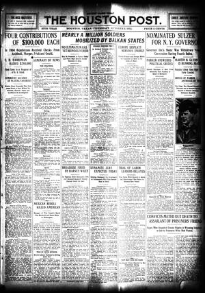 Primary view of object titled 'The Houston Post. (Houston, Tex.), Vol. 27, Ed. 1 Thursday, October 3, 1912'.