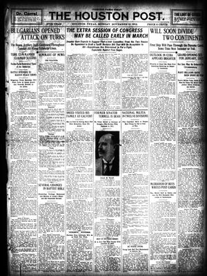 Primary view of object titled 'The Houston Post. (Houston, Tex.), Vol. 27, Ed. 1 Monday, November 18, 1912'.