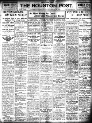 Primary view of object titled 'The Houston Post. (Houston, Tex.), Vol. 25, Ed. 1 Friday, November 12, 1909'.