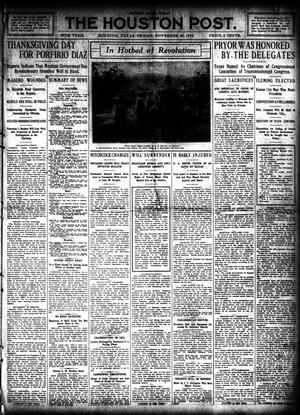 Primary view of object titled 'The Houston Post. (Houston, Tex.), Vol. 26, Ed. 1 Friday, November 25, 1910'.