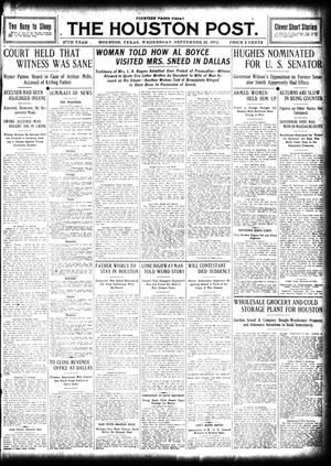 Primary view of object titled 'The Houston Post. (Houston, Tex.), Vol. 27, Ed. 1 Wednesday, September 25, 1912'.