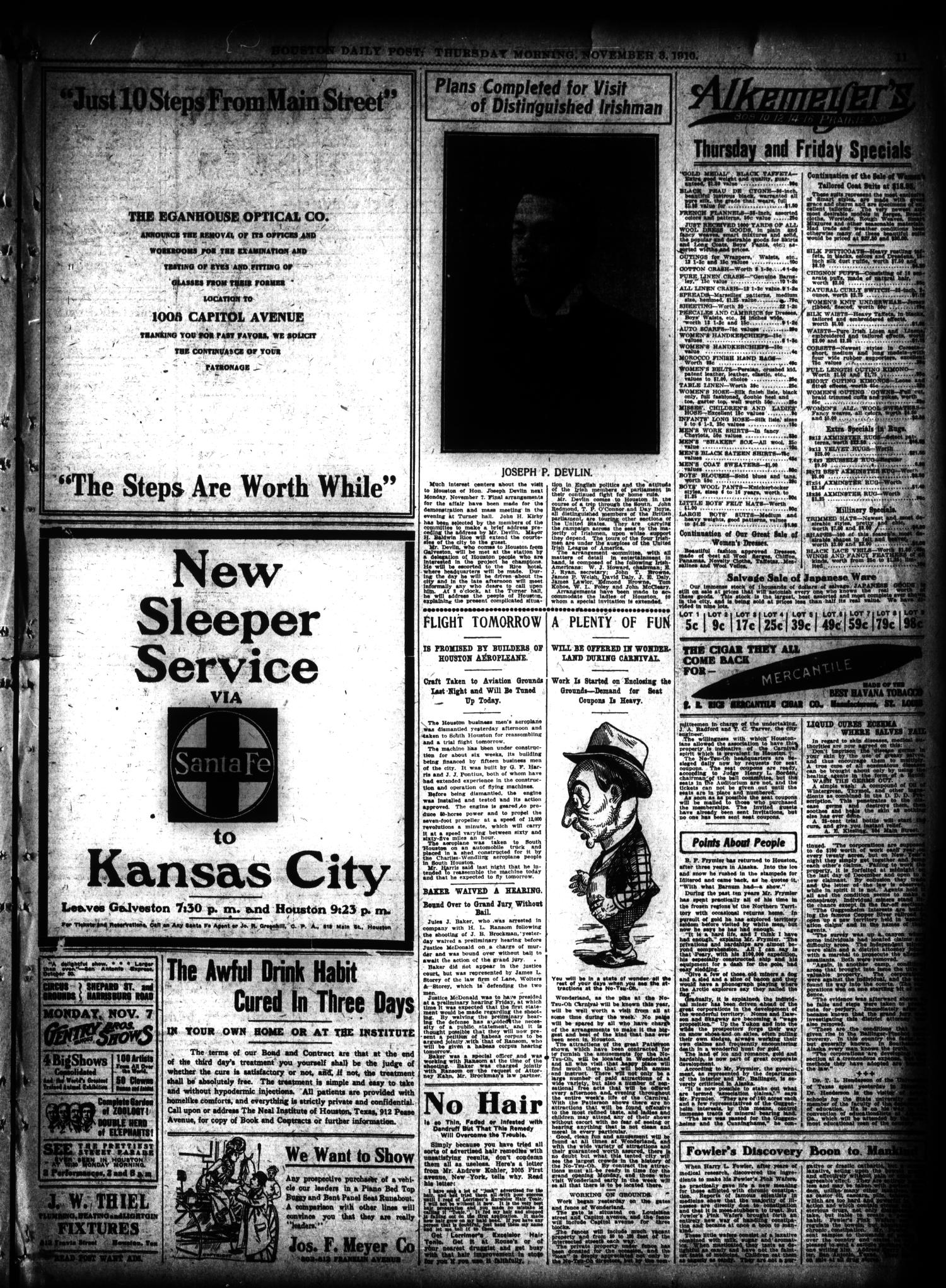 The Houston Post. (Houston, Tex.), Vol. 26, Ed. 1 Thursday, November 3, 1910                                                                                                      [Sequence #]: 11 of 16