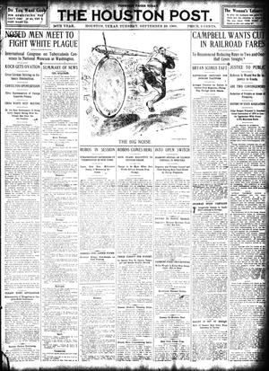 Primary view of object titled 'The Houston Post. (Houston, Tex.), Vol. 24, Ed. 1 Tuesday, September 29, 1908'.