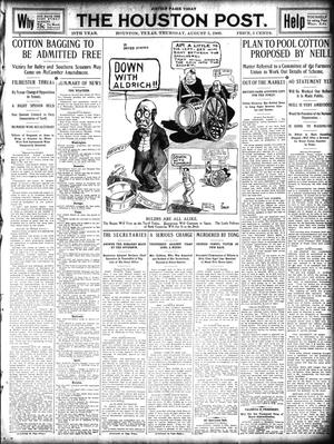 Primary view of object titled 'The Houston Post. (Houston, Tex.), Vol. 25, Ed. 1 Thursday, August 5, 1909'.