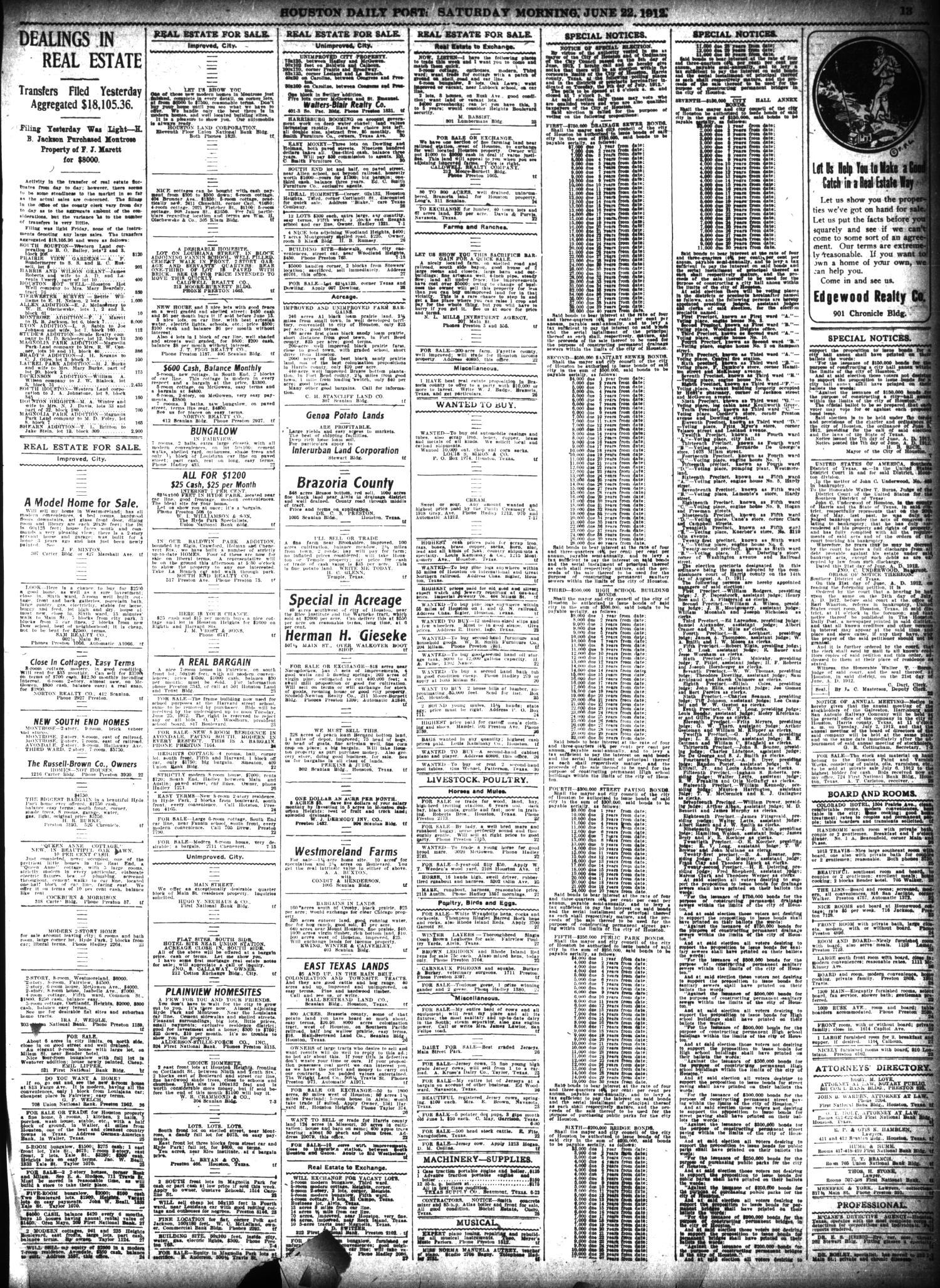 The Houston Post  (Houston, Tex ), Vol  27, Ed  1 Saturday, June 22