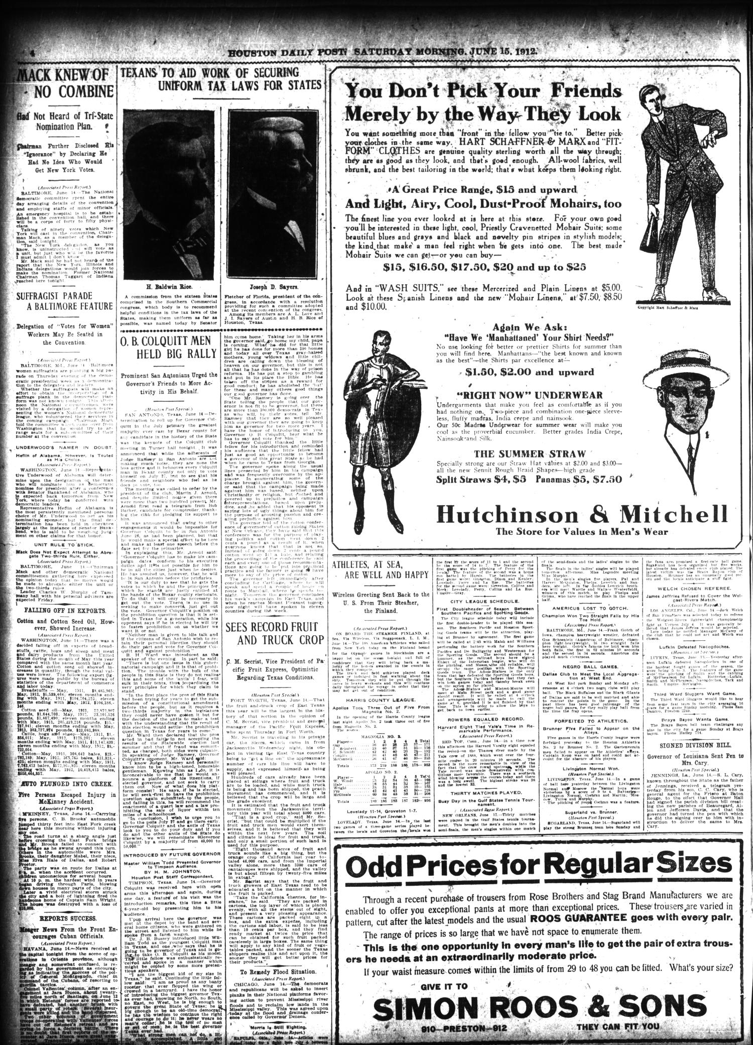 The Houston Post. (Houston, Tex.), Vol. 27, Ed. 1 Saturday, June 15, 1912                                                                                                      [Sequence #]: 4 of 18