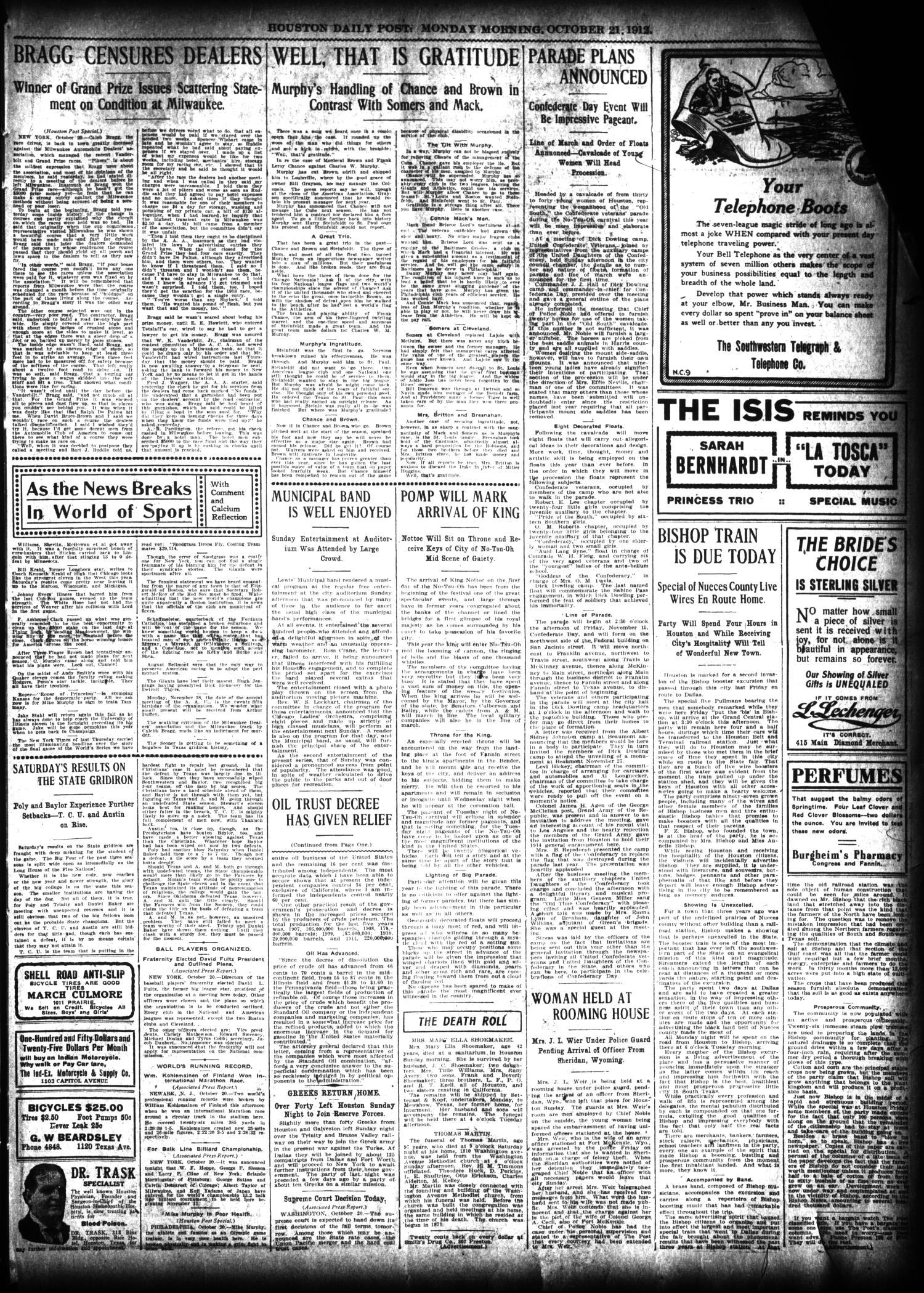 The Houston Post. (Houston, Tex.), Vol. 27, Ed. 1 Monday, October 21, 1912                                                                                                      [Sequence #]: 3 of 12