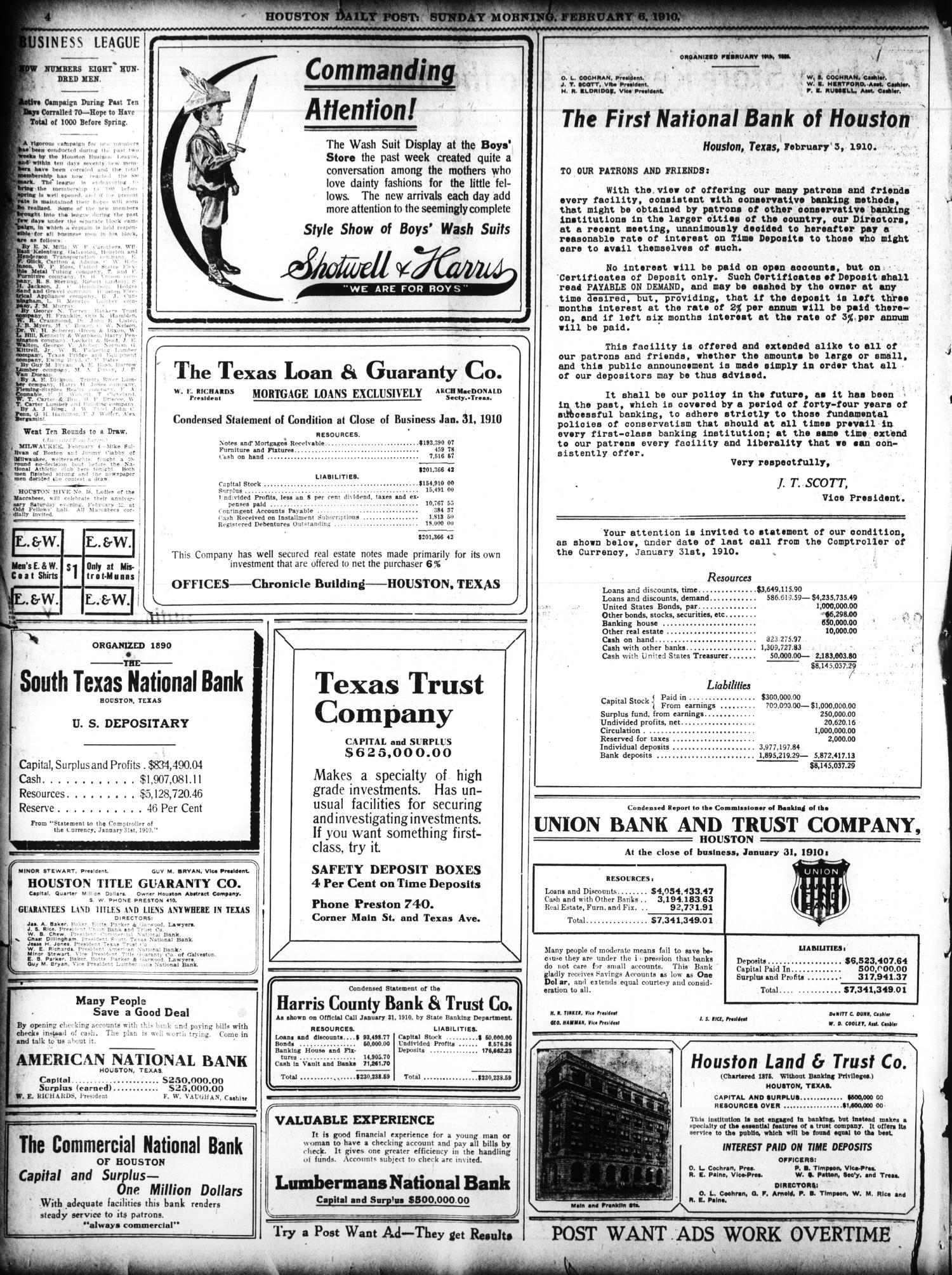 The Houston Post. (Houston, Tex.), Vol. 25, Ed. 1 Sunday, February 6, 1910                                                                                                      [Sequence #]: 4 of 56