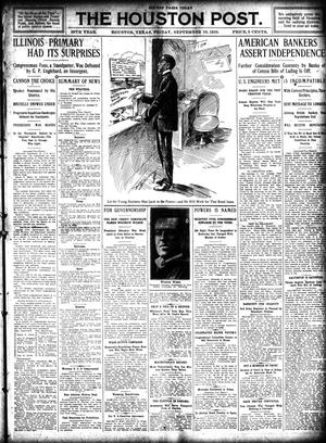 Primary view of object titled 'The Houston Post. (Houston, Tex.), Vol. 26, Ed. 1 Friday, September 16, 1910'.