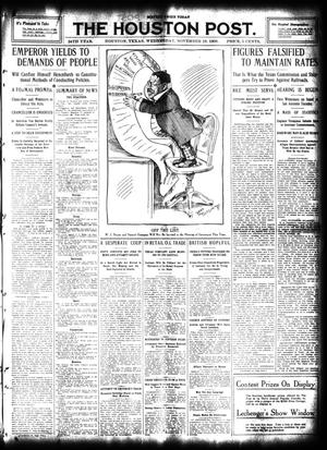 Primary view of object titled 'The Houston Post. (Houston, Tex.), Vol. 24, Ed. 1 Wednesday, November 18, 1908'.