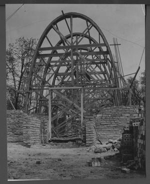 Primary view of object titled 'Front view of T.S.C.W. Chapel under construction.'.