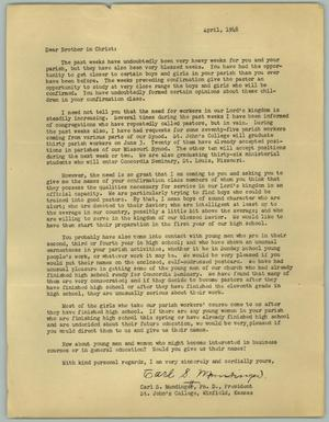 Primary view of object titled '[Letter from Carl S. Mundinger, April 1948]'.